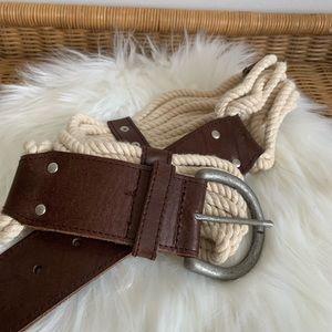 GAP nautical style leather and corded belt Medium